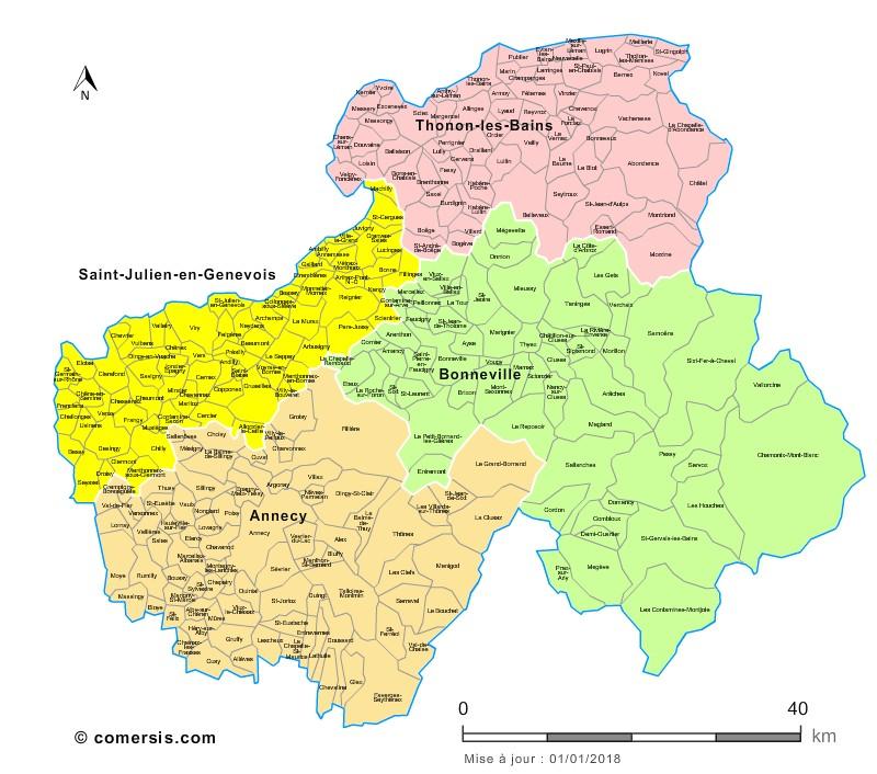 Communes et arrondissements 2018 de la Haute-Savoie