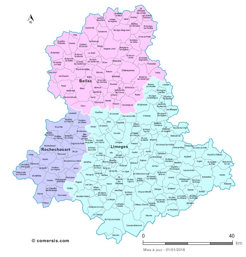 Communes et arrondissements 2018 de la Haute-Vienne
