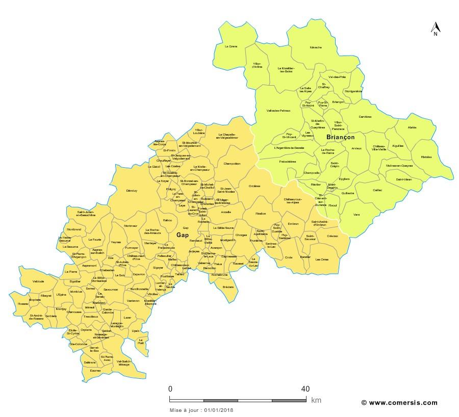 Carte des nouveaux arrondissements des Hautes-Alpes avec communes