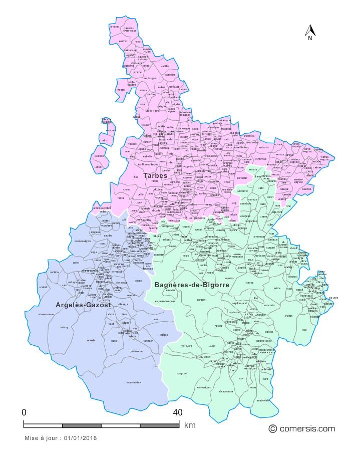 Carte des nouveaux arrondissements des Hautes-Pyrénées avec communes