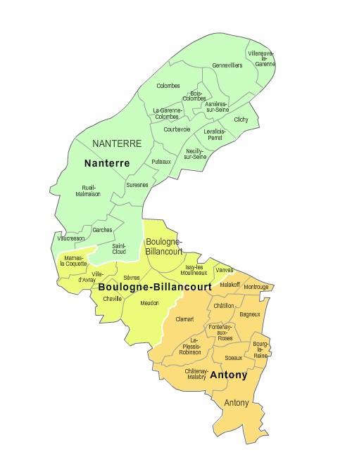 Carte des nouveaux arrondissements des Hauts-de-Seine avec communes