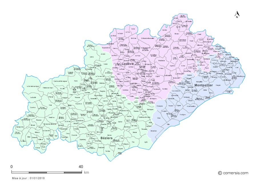 Carte des nouveaux arrondissements de l'Hérault avec communes