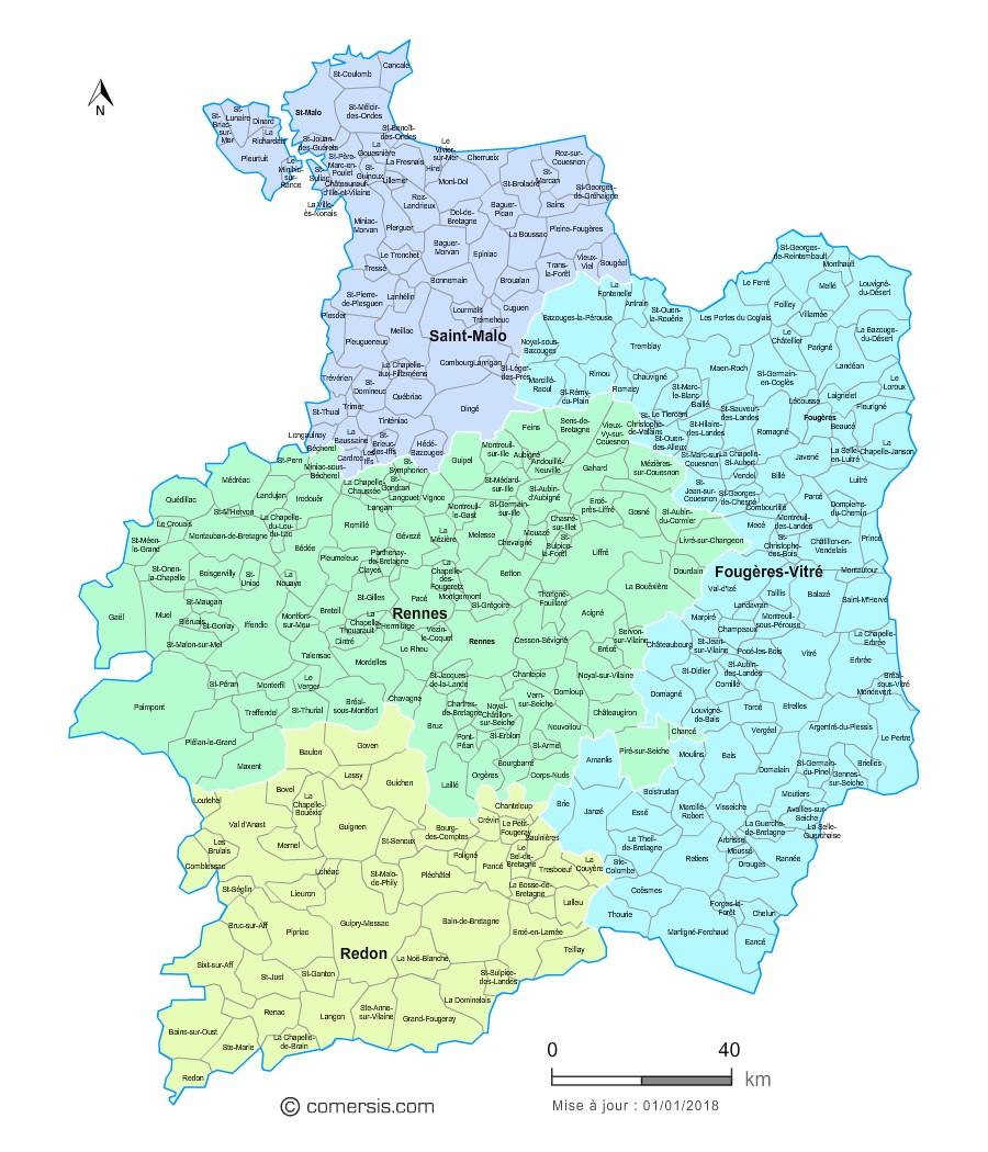 Carte des nouveaux arrondissements de l'Ille-et-Vilaine avec communes