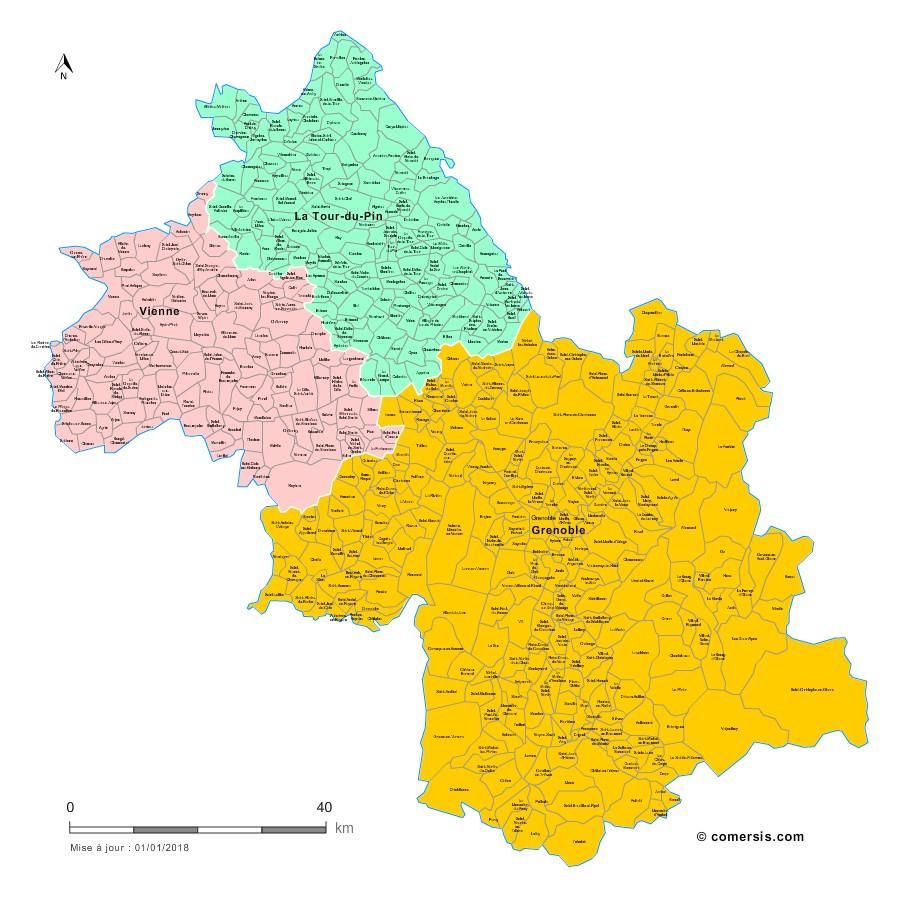 Communes et arrondissements 2018 de l'Isère