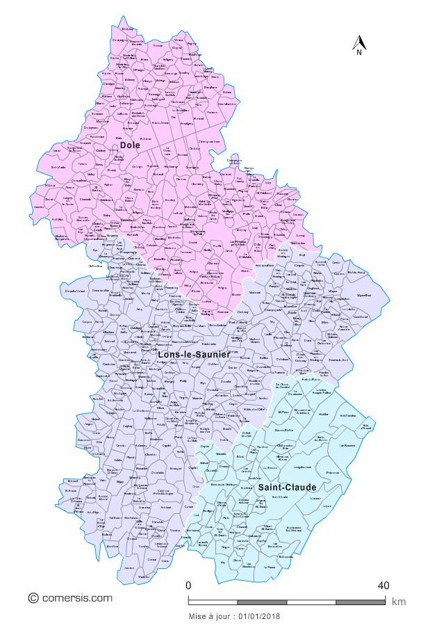Carte des nouveaux arrondissements du Jura avec communes