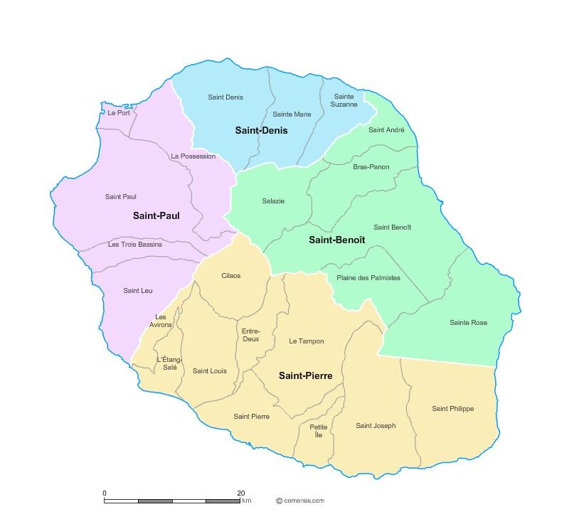 Carte des nouveaux arrondissements de La Réunion avec communes