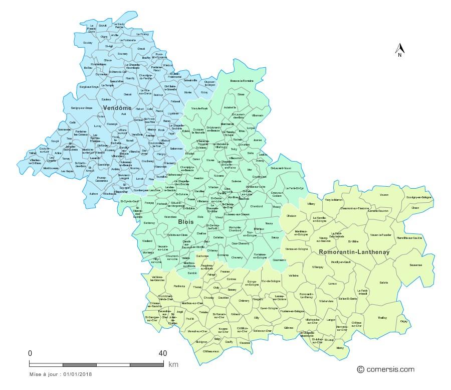 Carte des nouveaux arrondissements du Loir-et-Cher avec communes