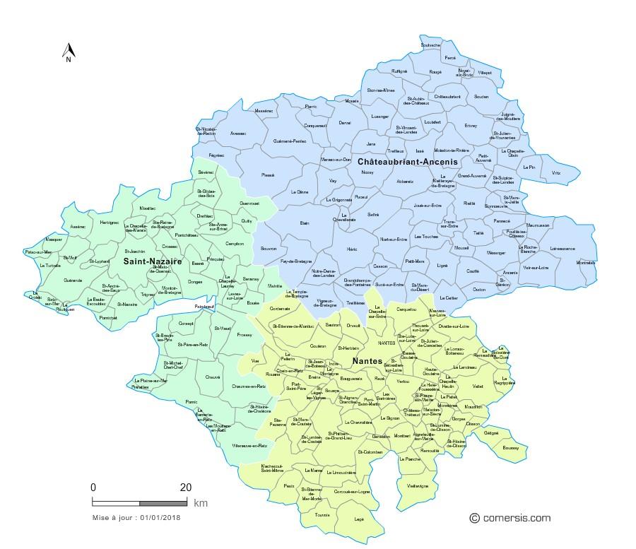 Carte des nouveaux arrondissements de la Loire-Atlantique avec communes