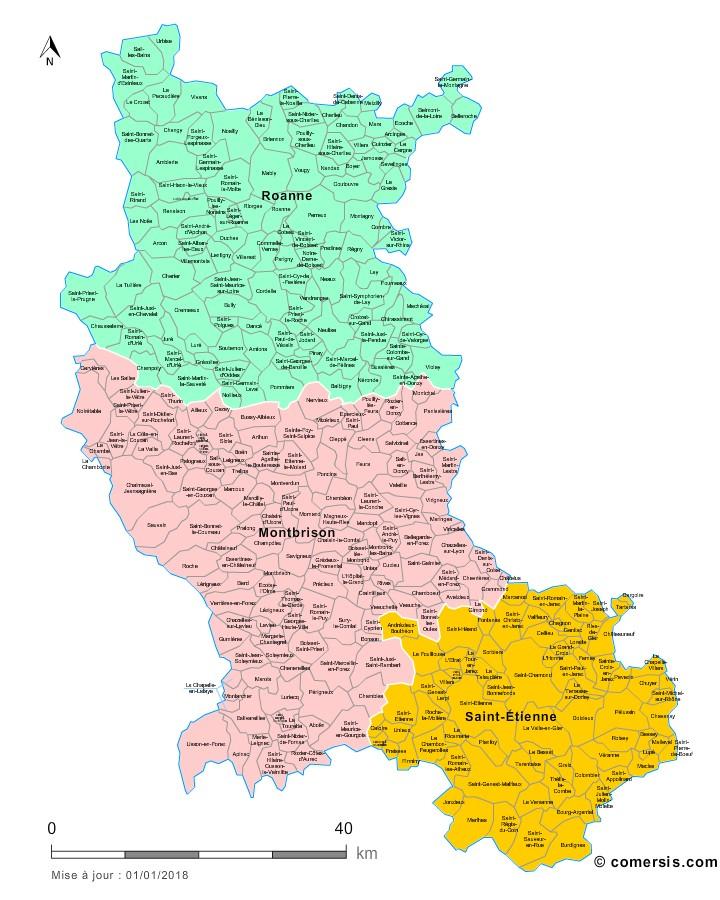 Communes et arrondissements 2018 de la Loire