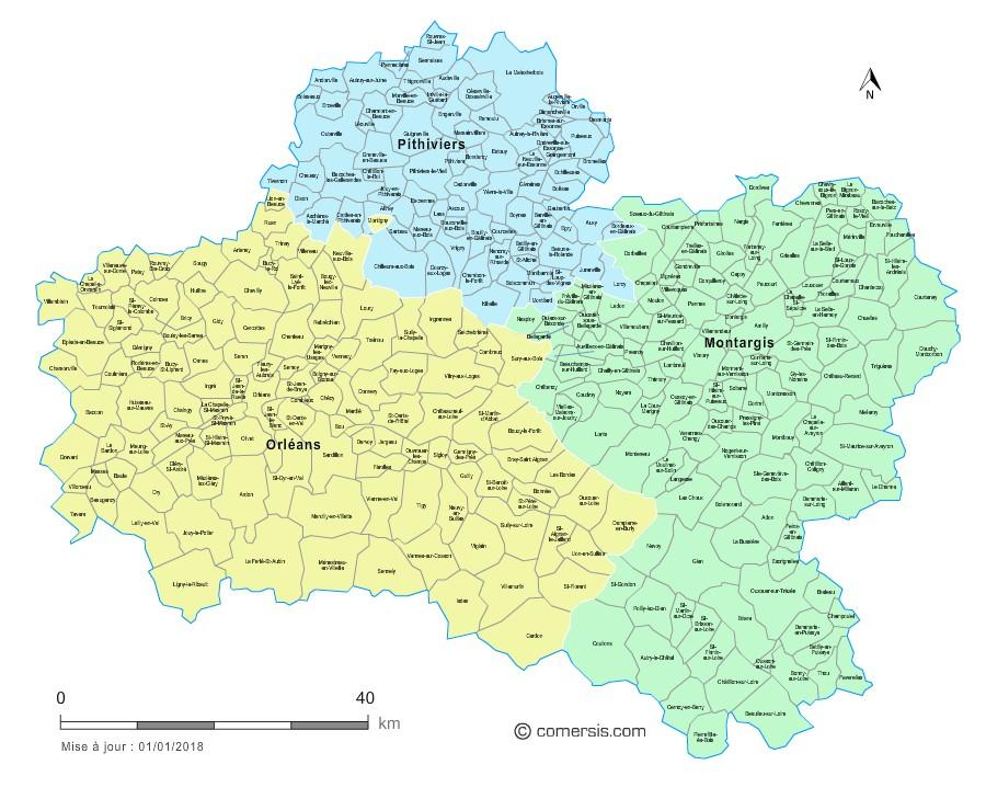 Carte des nouveaux arrondissements du loiret avec villes for Region du loiret