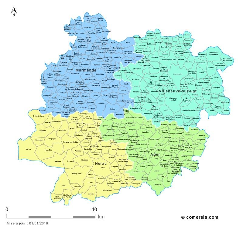 Carte des nouveaux arrondissements du Lot-et-Garonne avec communes