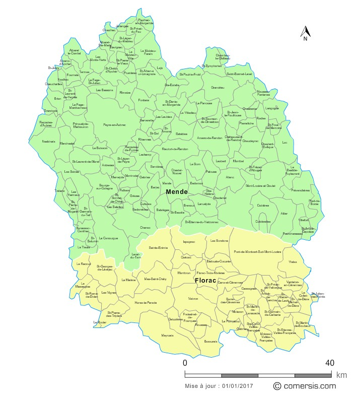 Communes et arrondissements 2018 de la Lozère