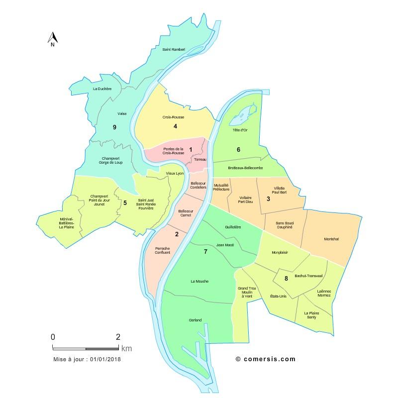 Quartiers et arrondissements de Lyon