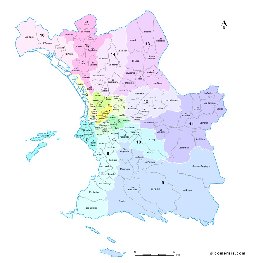 Quartiers et arrondissements de Marseille