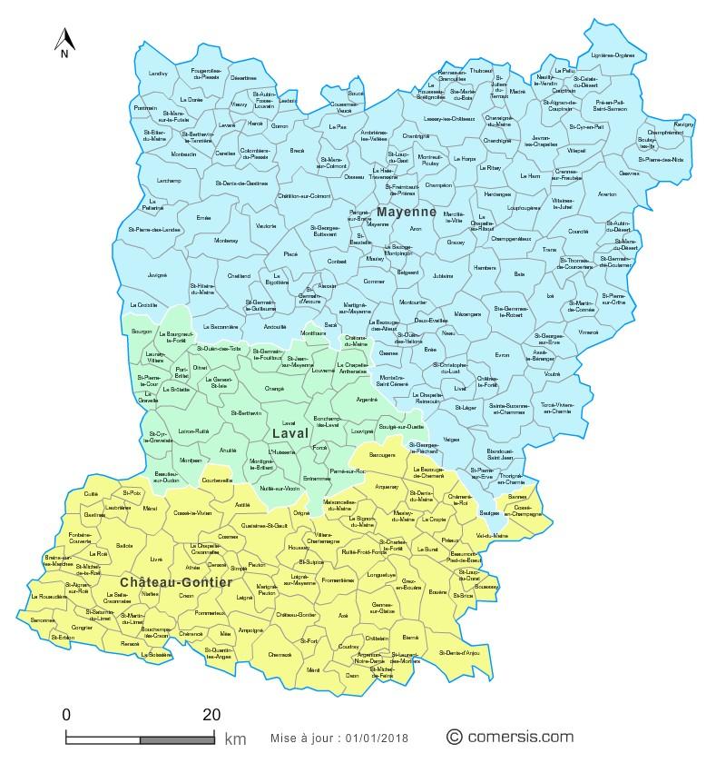 Carte des nouveaux arrondissements de la Mayenne avec communes