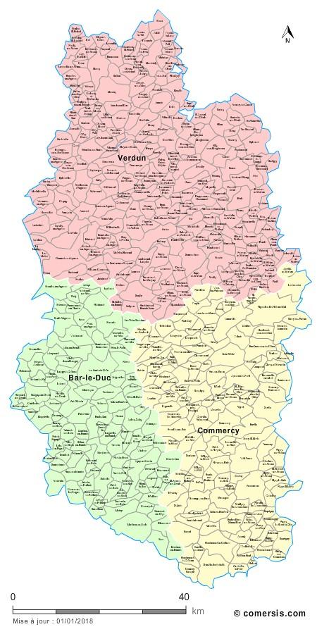 Carte des nouveaux arrondissements de la Meuse avec communes