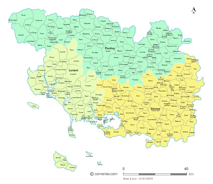 Carte des nouveaux arrondissements du Morbihan avec communes