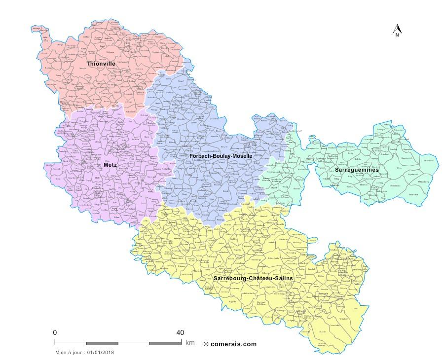 Communes et arrondissements 2018 de la Moselle