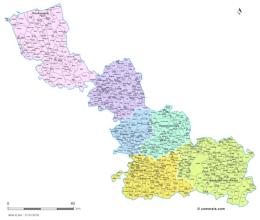 Carte des nouveaux arrondissements du Nord avec communes
