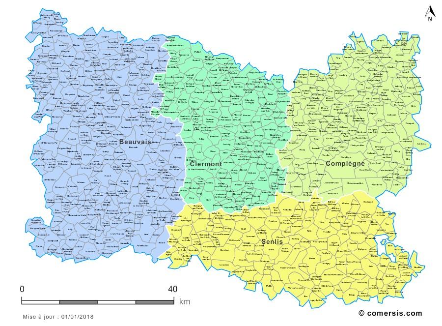 Carte des nouveaux arrondissements de l'Oise avec communes