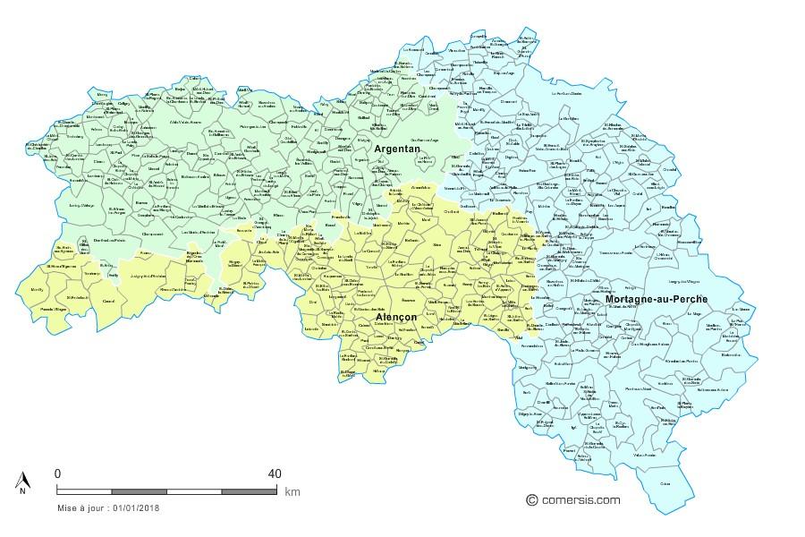 Communes et arrondissements 2018 de l'Orne