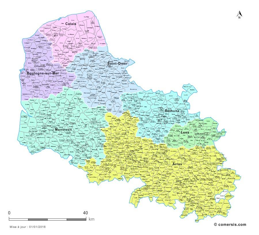 Communes et arrondissements 2018 du Pas-de-Calais