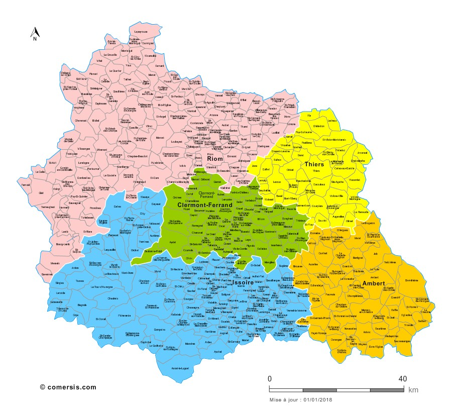 Communes et arrondissements 2018 du Puy-de-Dôme