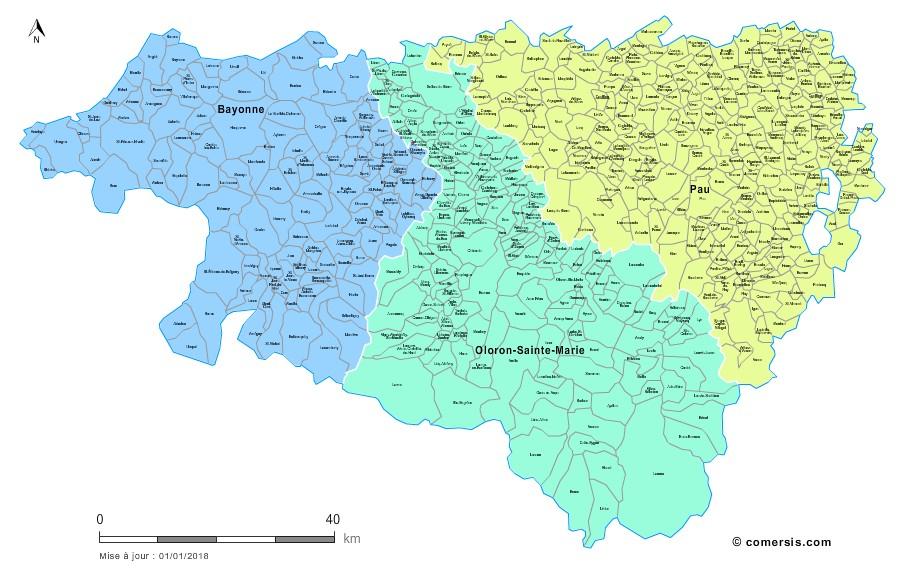 Carte des nouveaux arrondissements des Pyrénées-Atlantiques avec communes