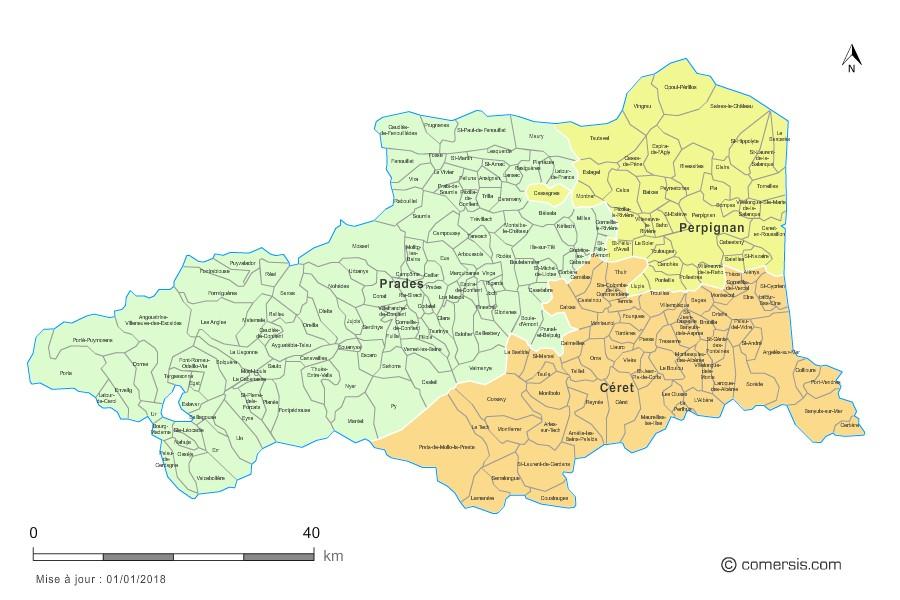 Carte des nouveaux arrondissements des Pyrénées-Orientales avec communes