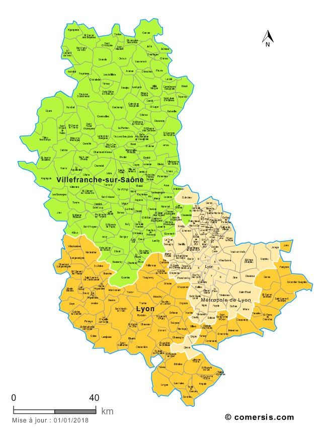 Communes et arrondissements 2018 du Rhône