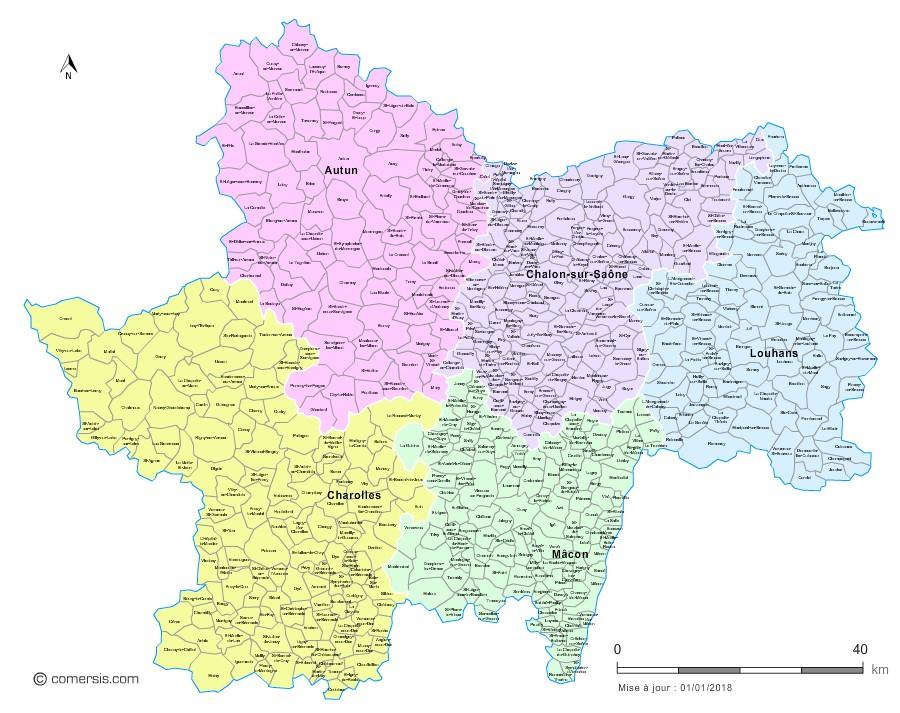 Carte des nouveaux arrondissements de Saône-et-Loire avec communes