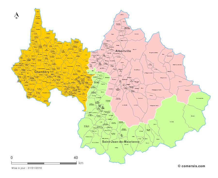 Carte des nouveaux arrondissements de la Savoie avec communes