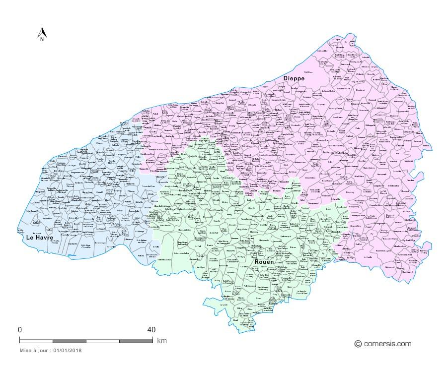 Communes et arrondissements 2018 de la Seine-Maritime