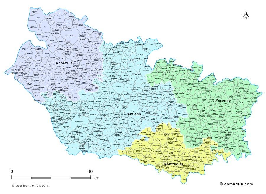 carte de la somme avec les communes Carte des nouveaux arrondissements de la Somme avec villes et communes