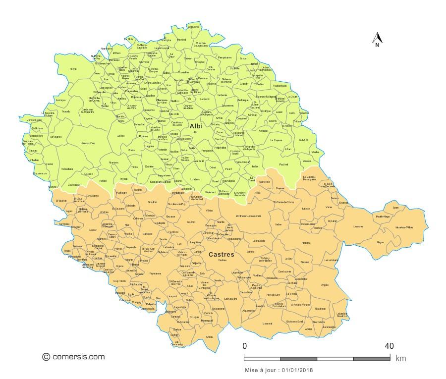 Carte des nouveaux arrondissements du Tarn avec communes