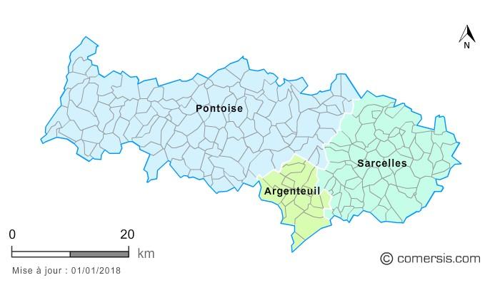 Communes et arrondissements 2018 du Val-d'Oise