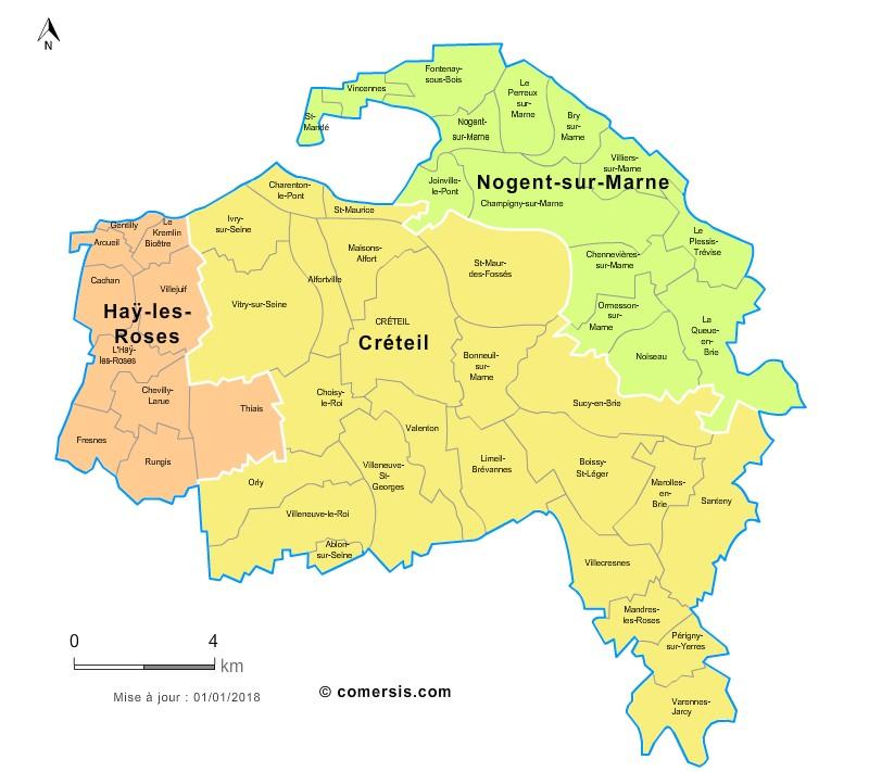 Carte des nouveaux arrondissements du Val-de-Marne avec communes