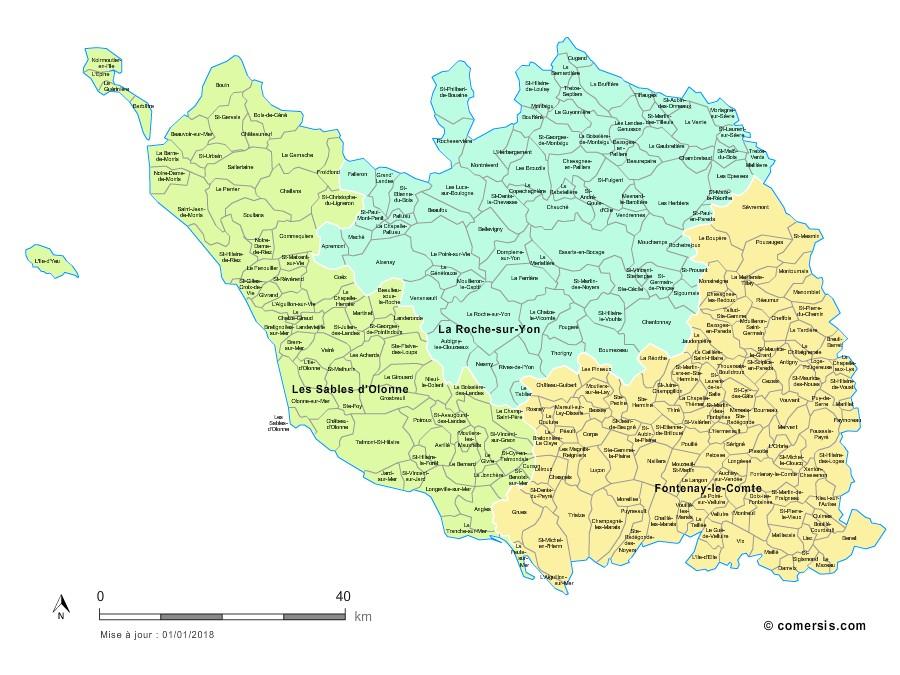 Carte des nouveaux arrondissements de la Vendée avec communes