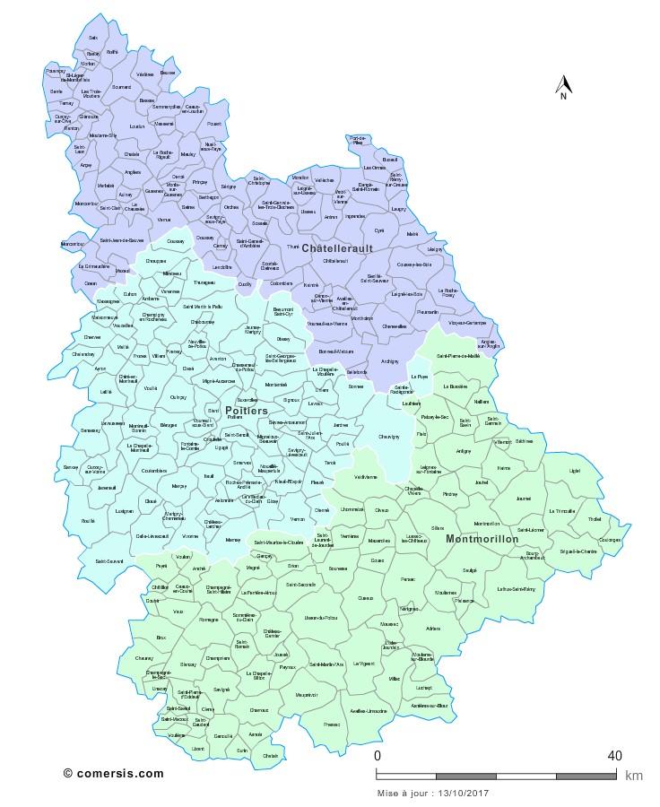 Communes et arrondissements 2018 de la Vienne