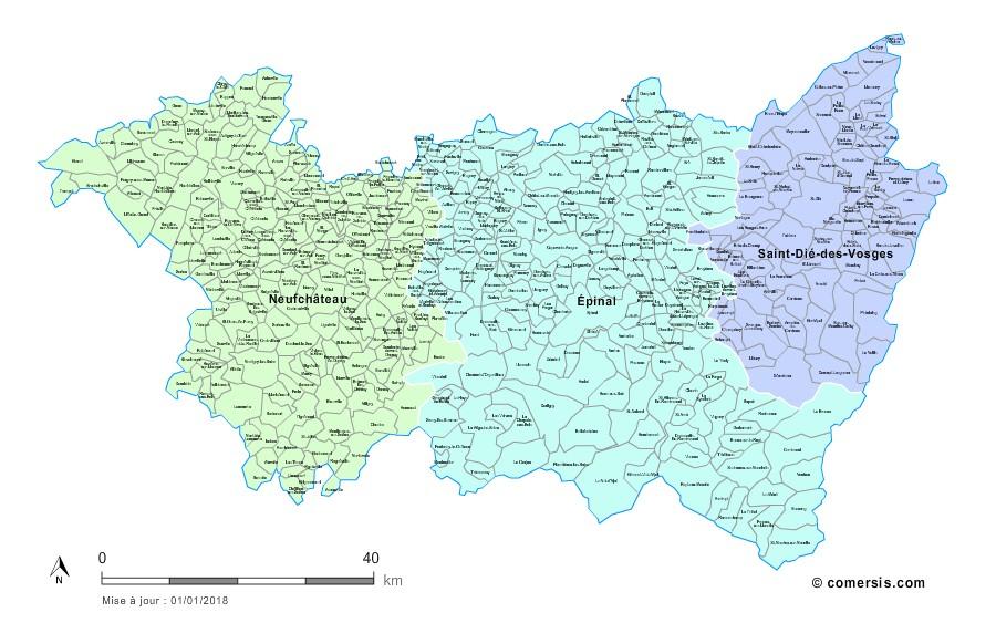 Carte des nouveaux arrondissements des Vosges avec communes