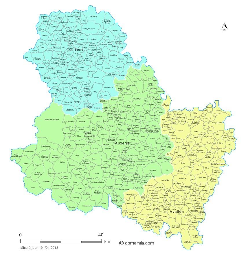 Communes et arrondissements 2018 de l'Yonne